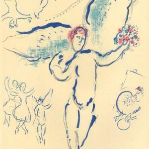 Chagall Sketch of Firebird Lithograph, Paris Opera 1966