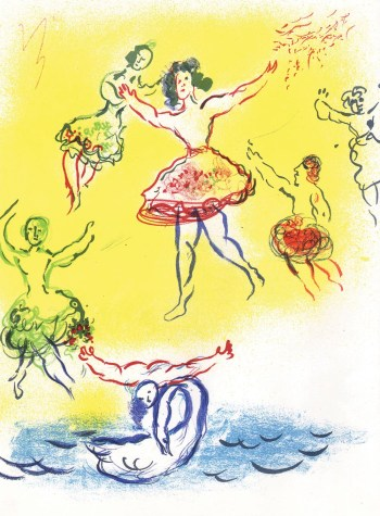 Chagall Lithograph Swan of the Lake, Paris Opera 1966