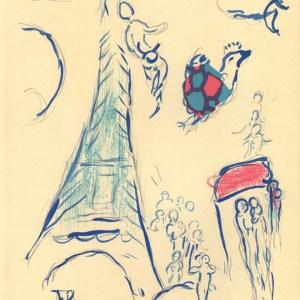 Chagall Lithograph Sketch Angel of Mozart, Paris Opera
