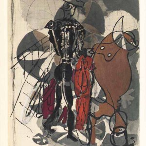 "Braque Lithograph ""Bullfight H04"" Carnet intimes 1955"