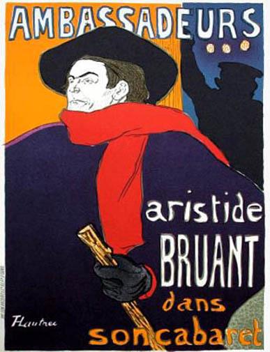 """Lautrec Henri de Toulouse, lithograph""""Bruant Ambassadeurs"""""""