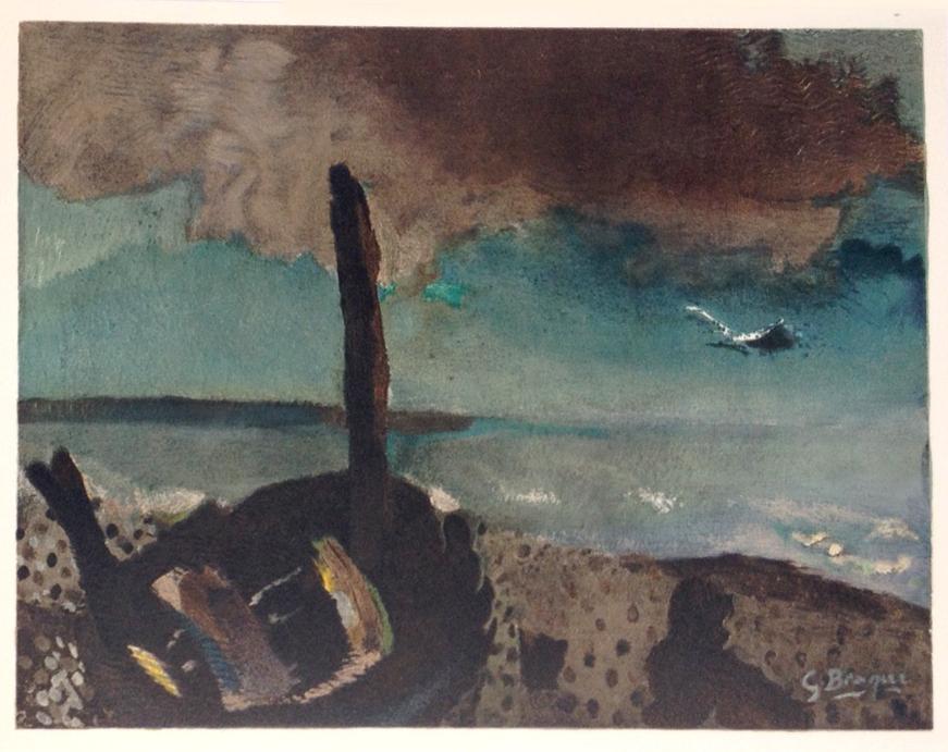 """Braque Lithograph """"Marine a la Mouette"""" printed 1968"""