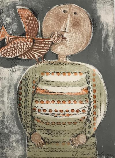 """Boulanger """"Enfant et oiseau 2"""" Original Lithograph"""