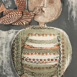 Graciela Boulanger Lithograph, Enfant et oiseau 2