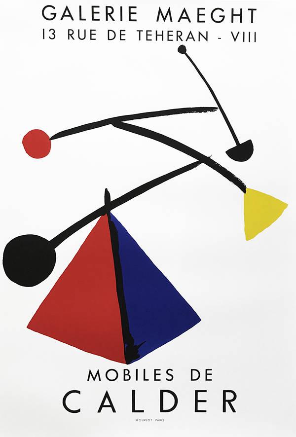 Calder lithograph poster, Mobiles de Calder