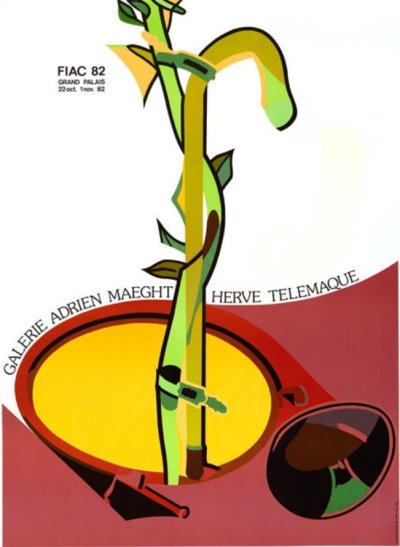 """Herve Telemaque """"Fiac"""" Poster Original Lithograph"""