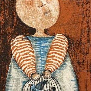 Graciela Boulanger Lithograph, Enfant et oiseau 5
