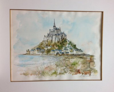 "Urbain Huchet watercolor "" Mont Saint Michel"""