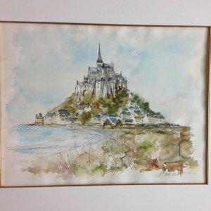Urbain Huchet, Mont Saint Michel, Original Watercolor Signed