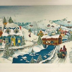 American school Lithograph Snow Season 1978 signed