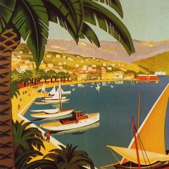 Poster Bandol, Giclee printed on watercolor paper  Mid-century Modern, Impressionist