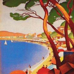 Poster Ete sur la cote d' Azur, Giclee on watercolor paper  Mid-century Modern