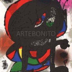 """Miro Original Lithograph """"V3-3"""" Mourlot 1977"""