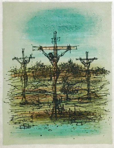 """Jean Carzou """"4"""" Original Lithograph 1962 Mourlot"""