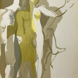 """Andre Beaudin """"4"""" Original Lithograph 1961 printed by Mourlot"""