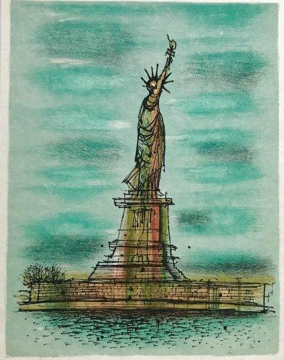 """Jean Carzou """"1"""" Original Lithograph 1962 Mourlot"""