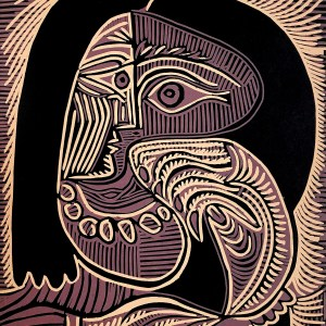 1978 Picasso Linocut Woman with necklace, XX Siecle
