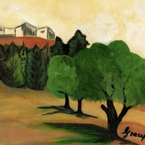 Grace Absi, House on hill, oil painting