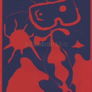 Joan Miro, Linoleum engraving, XX siecle,  Framed