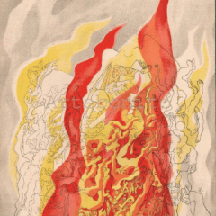 "Rattner ""Fire"" Lithograph Verve 1937"