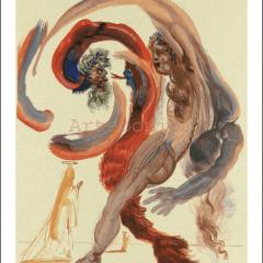 Salvador Dali, Purgatory 18, Woodcut, Divine Comedy