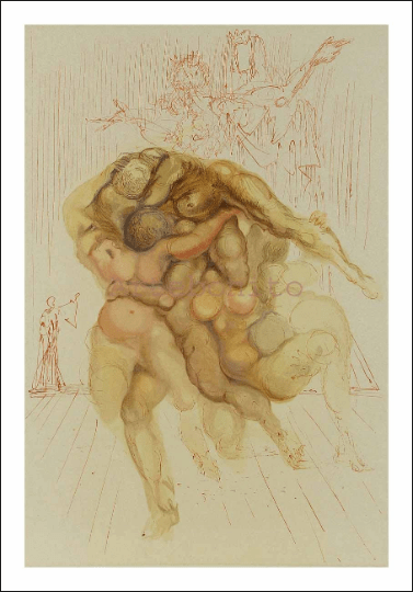 Salvador Dali, Hell 8, Woodcut, Divine Comedy