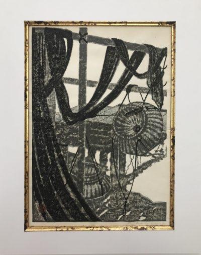 Masaharu Aoyama, Fishing creels, Original woodblock Pencil Signed