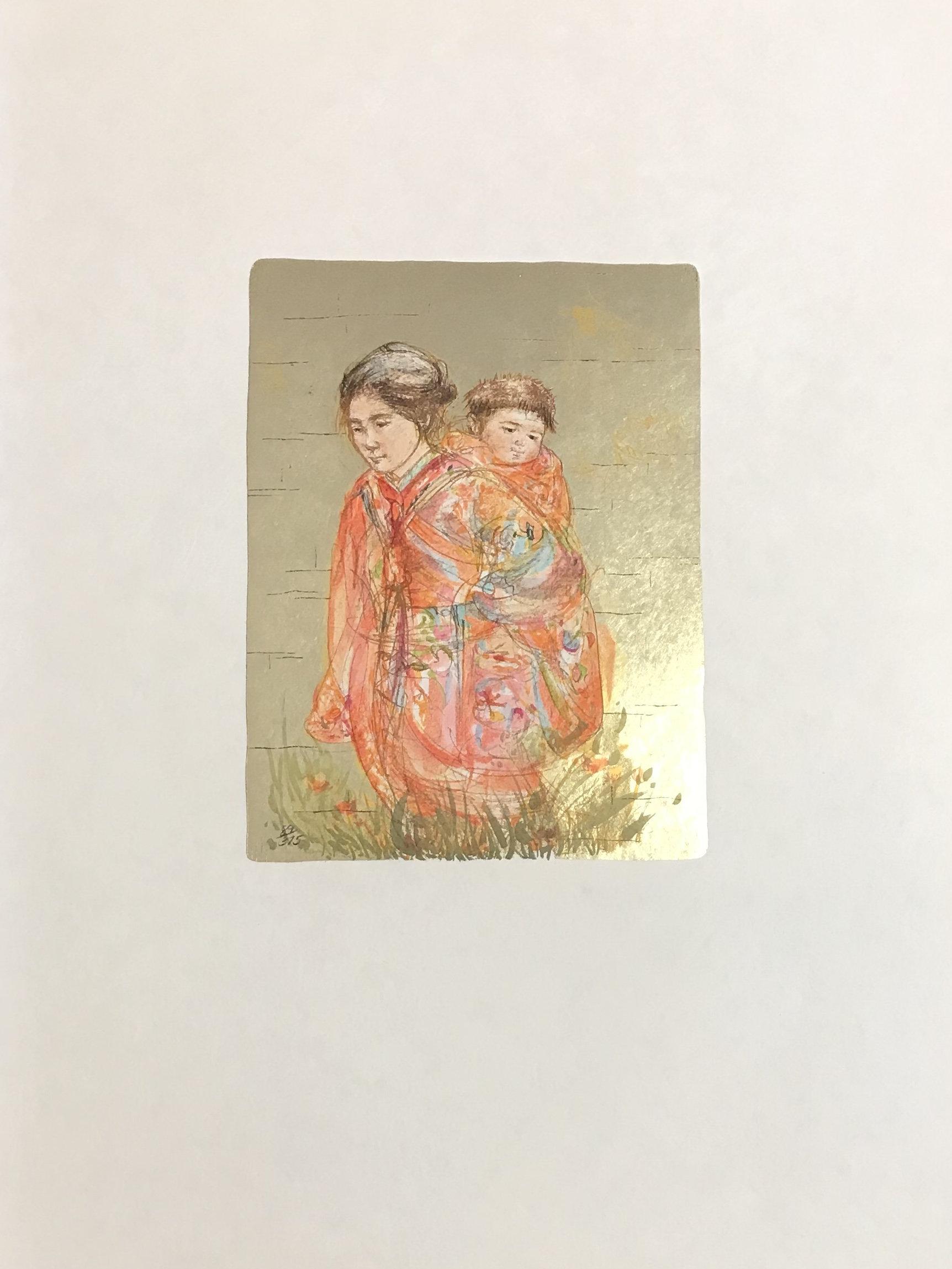 Edna Hibel, Okada to Kodomo, Pencil Signed Original Lithograph 1977
