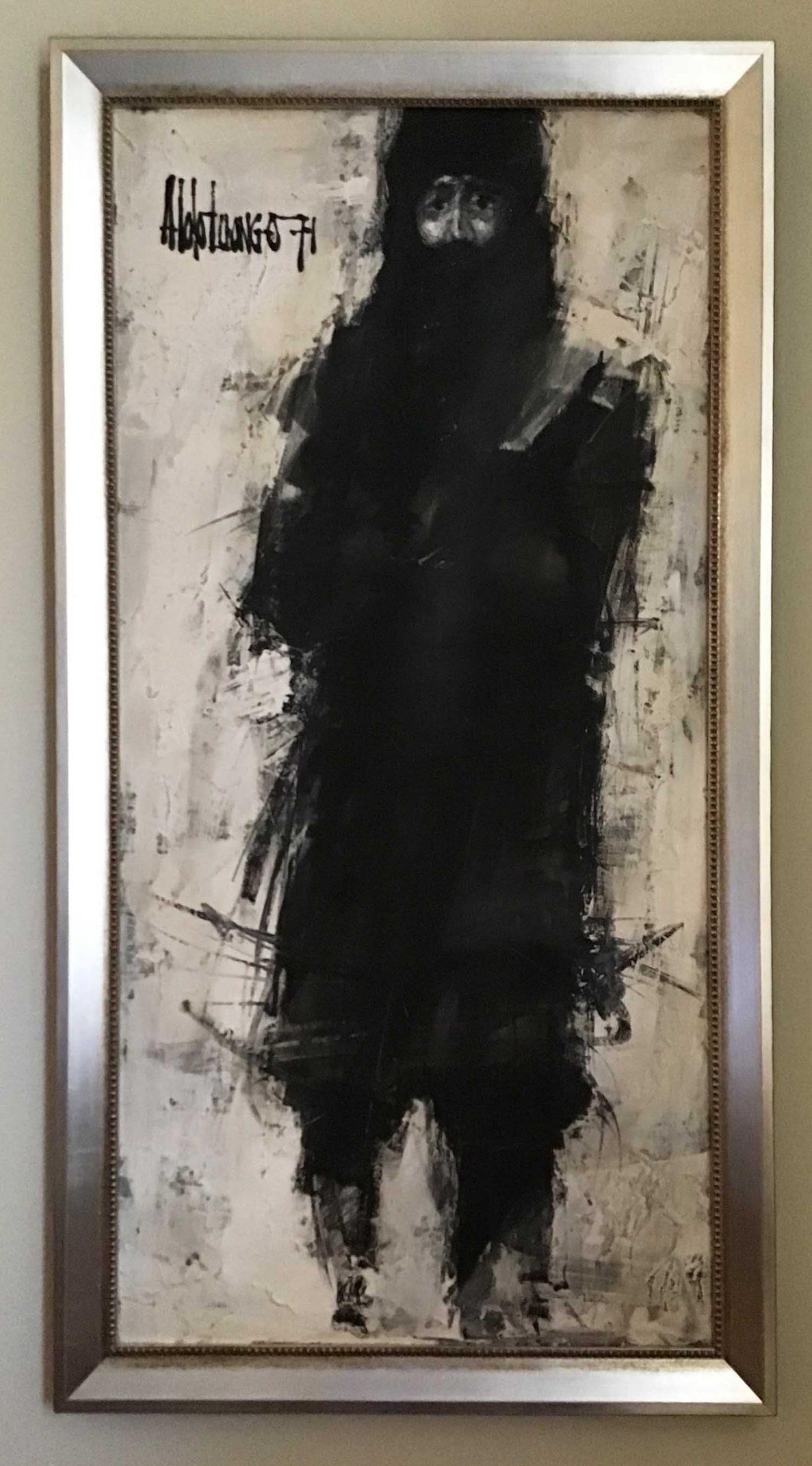Aldo Luongo, Oil on Canvas, Man in Black, Signed 1971