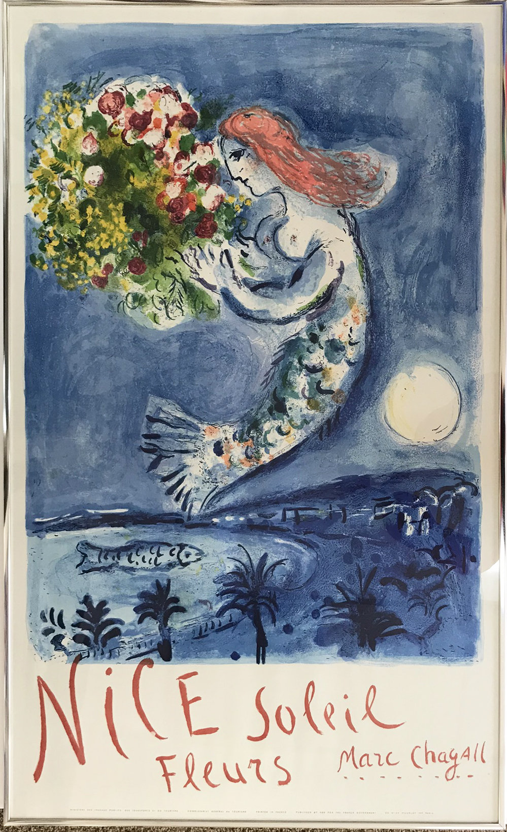 Marc Chagall Original Lithograph Poster, Bay of Angels, Nice series 1962, Framed