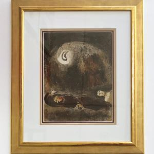 Marc Chagall, Original Lithograph 1960, Drawings for the Bible, Ruth aux pieds de Booz, Framed