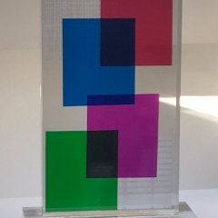 Contemporary Lucite Acrylic Sculpture Tower Composition 1,  19″H  Signed,  Modern, Home decor