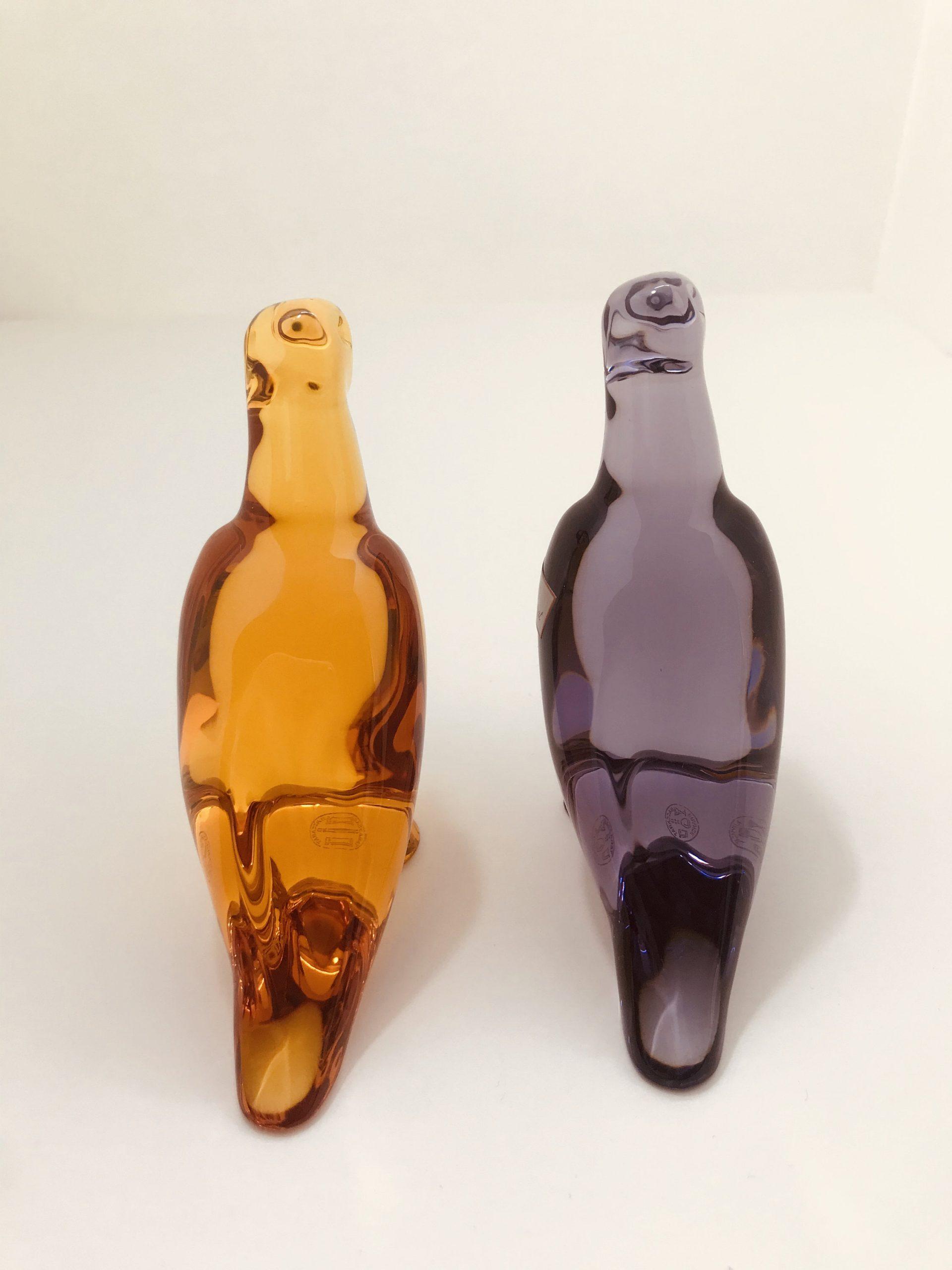 Pair of Baccarat France, Art Glass, Parrot Bird Signed
