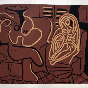 Picasso Linogravures14, Femme et guitariste 1962