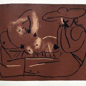Picasso Linogravure 16, Femme couchee et homme au grand chapeau