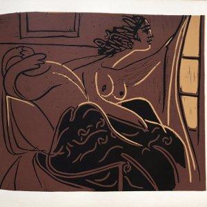 Pablo Picasso22, Linogravures Femme regardant par la fenetre 1962