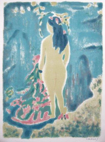 Jules Cavailles, Pencil Signed Original Lithograph, Recitative 1968