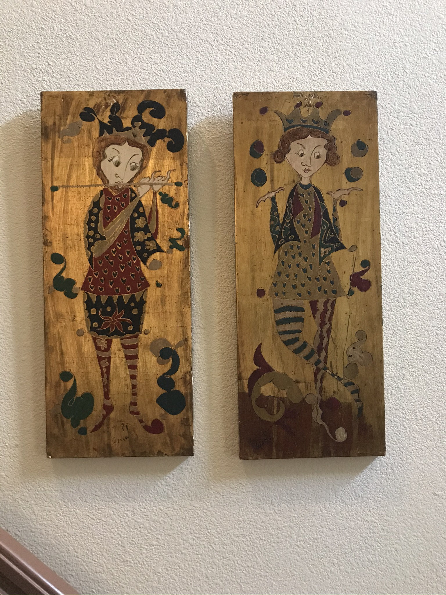 Pair of Signed Folk Art, Gorgeous Sculptural Wall Objects