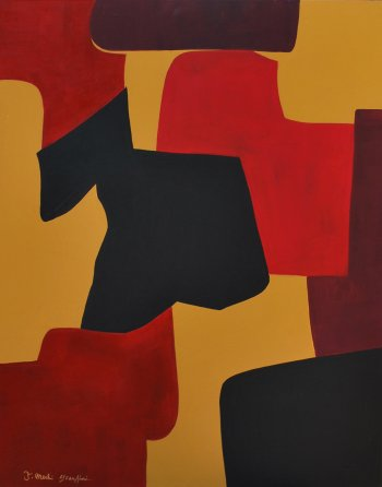 Grace Absi & J Merhi, Composition No.2, Acrylic on Canvas Signed
