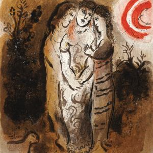 Chagall Lithograph 1960, the Bible, Naomi & her daughters in law
