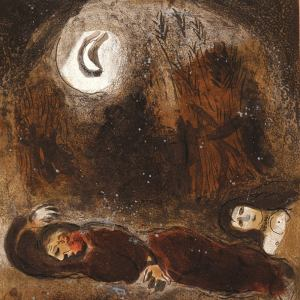 Marc Chagall, Original Lithograph 1960, Drawings for the Bible, Ruth at the feet of Boaz