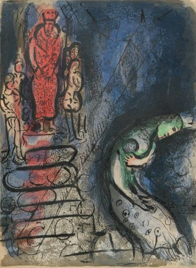 Marc Chagall, Original Lithograph 1960, Drawings for the Bible, Ahaseurus banishes Vashti