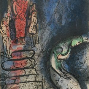 Chagall Lithograph 1960, the Bible, Ahaseurus banishes Vashti