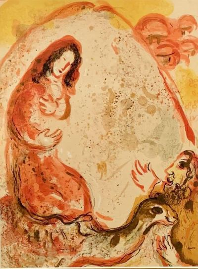 Marc Chagall, Original Lithograph 1960, Drawings for the Bible, Rachel hides her father's household gods