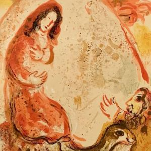 Chagall Lithograph 1960, Bible, Rachel hides her father's household gods