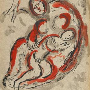Chagall Original Lithograph Hagar in the Desert, Bible 1960