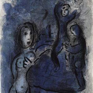 Marc Chagall, Original Lithograph 1960, Drawings for the Bible, Tamar the daughter in law of Judah