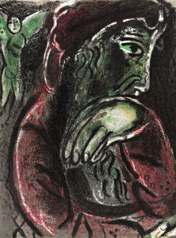 Marc Chagall, Original Lithograph 1960, Drawings for the Bible, Job in despair bible