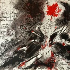 """Pierre Parsus Orig. Lithograph """"La rose, bouteille et mains"""