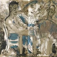 """Pierre Parsus Original Lithograph """"Le vieux leon"""""""